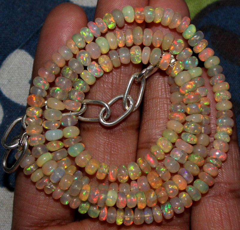 53 Crts Natural Ethiopian Welo Fire Opal Beads Necklace 191