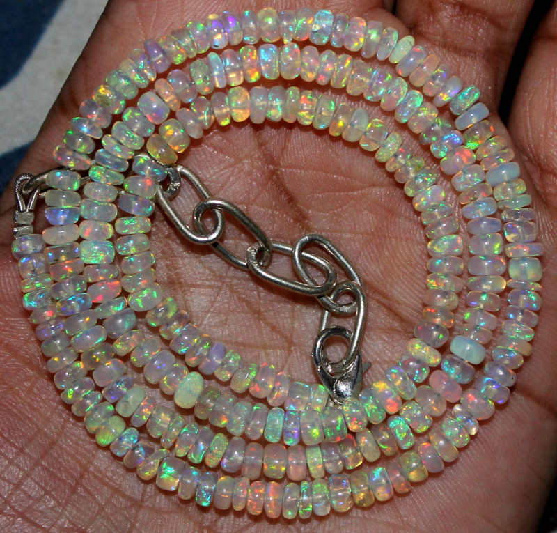 46 Crts Natural Ethiopian Welo Fire Opal Beads Necklace 196