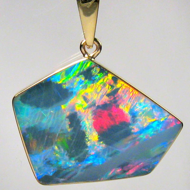 6.7ct 14k Gold Authentic Genuine Australian Opal Pendant Inlay Jewelry Gift