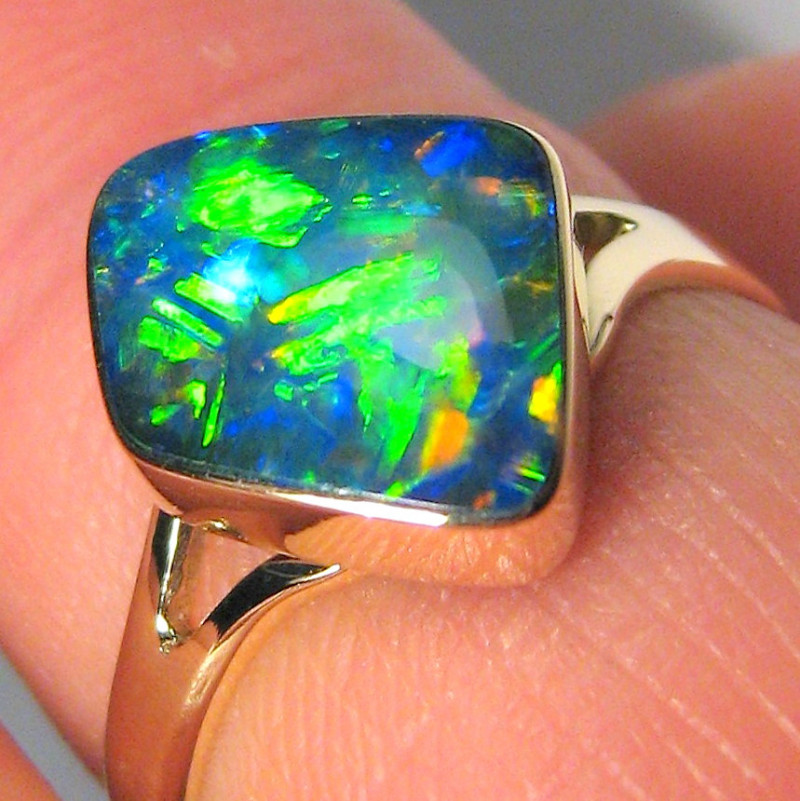 Australian Opal Ring Inlay Natural Precious Gem Gift Solitaire 2.2g Sz 7 14