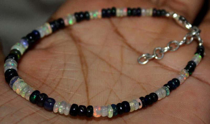 11 Crt Natural Ethiopian Welo Fire Opal & Smoked Opal Beads Bracelet 82
