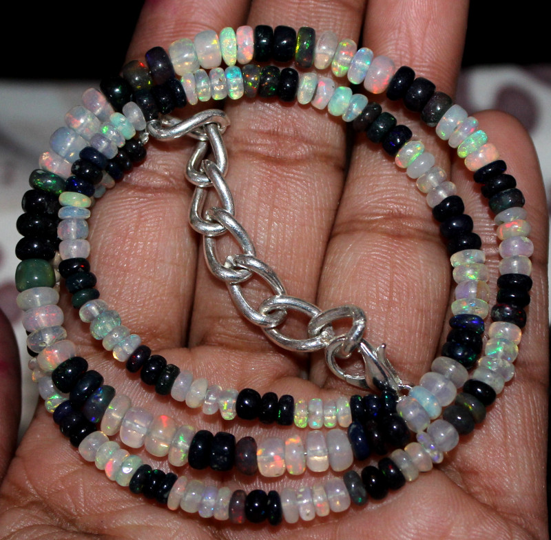 48 Crt Natural Ethiopian Welo Opal & Smoked Opal Beads Necklace 103