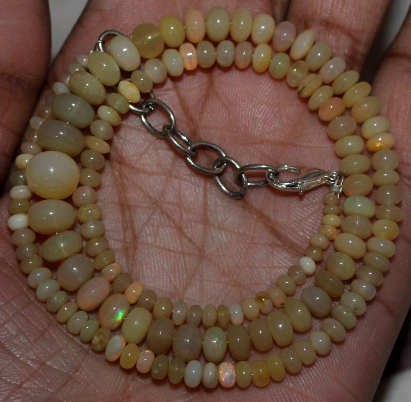 48 Crt Natural Ethiopian Welo Fire Opal Beads Necklace 136