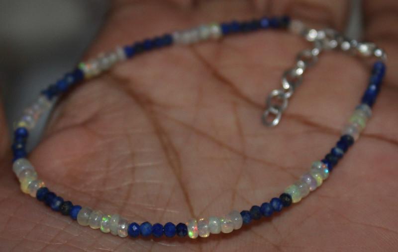 9 Crt Natural Ethiopian Welo Fire Opal & Lapis Lazuli Beads Bracelet 92