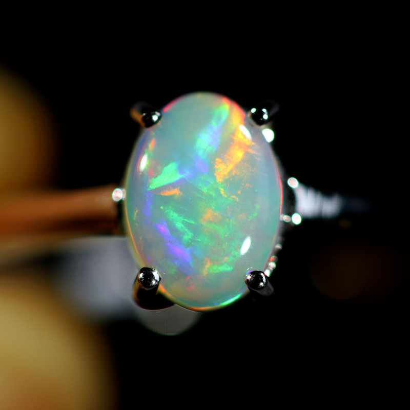 7.5 SIZE SOLID  FIRE  OPAL  STONE IN 10 K white GOLD RING [SOJ6601]