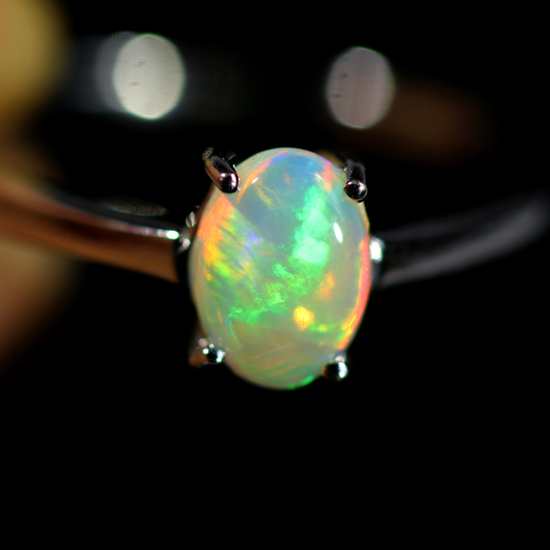 7.5 SIZE SOLID  FIRE  OPAL  STONE IN 10 K white GOLD RING [SOJ6604]