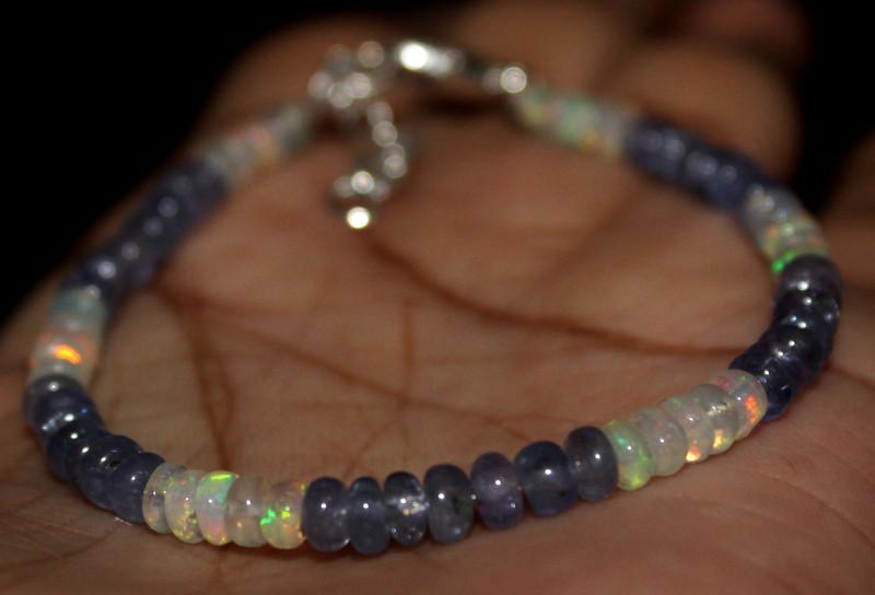 21 Crt Natural Ethiopian Welo Fire Opal & Tanzanite Beads Bracelet 114