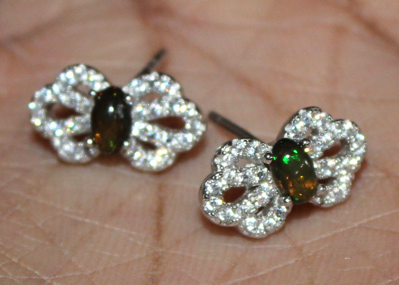 Natural Ethiopian Welo Fire Smoked Opal 925 Silver Stud Earrings 115