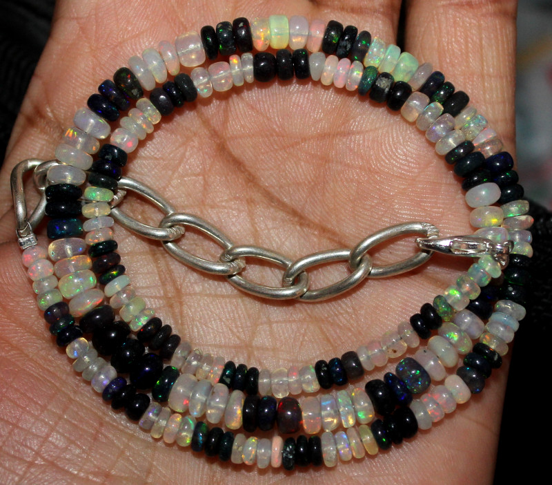 49 Crt Natural Ethiopian Welo Opal & Smoked Opal Beads Necklace 100