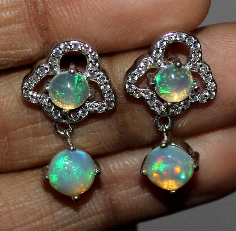 Natural Ethiopian Welo Fire Opal 925 Sterling Silver Earrings 113