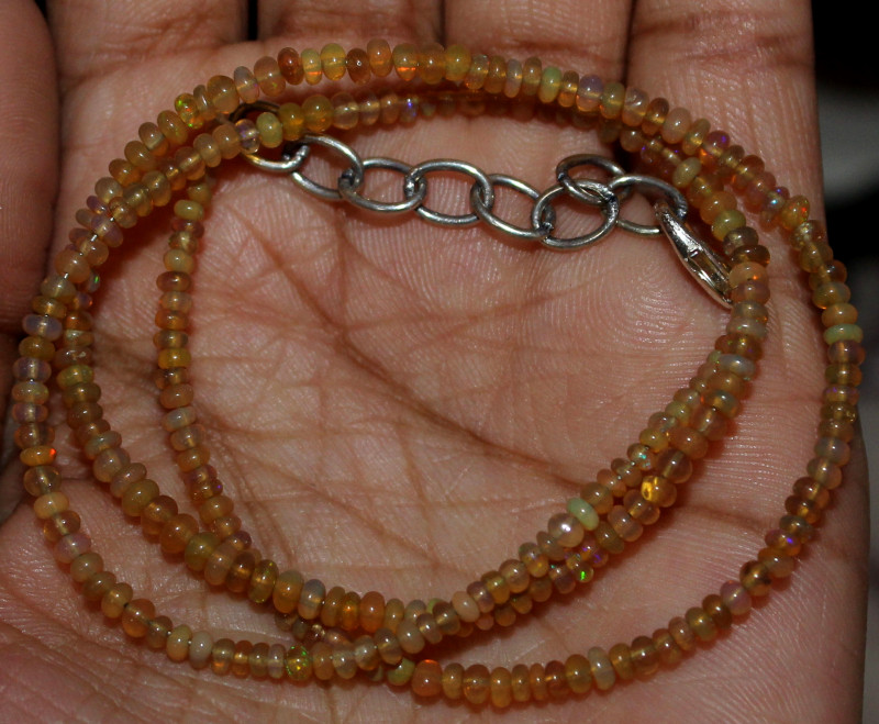 16 Crts Natural Ethiopian Welo Fire Opal Beads Necklace 130