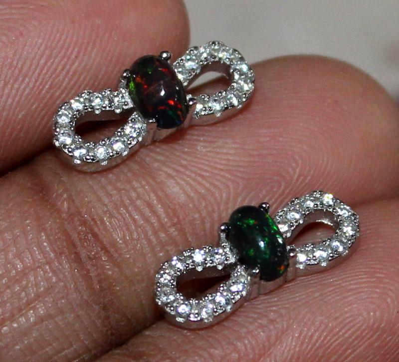 Natural Ethiopian Welo Fire Smoked Opal 925 Silver Stud Earrings 114