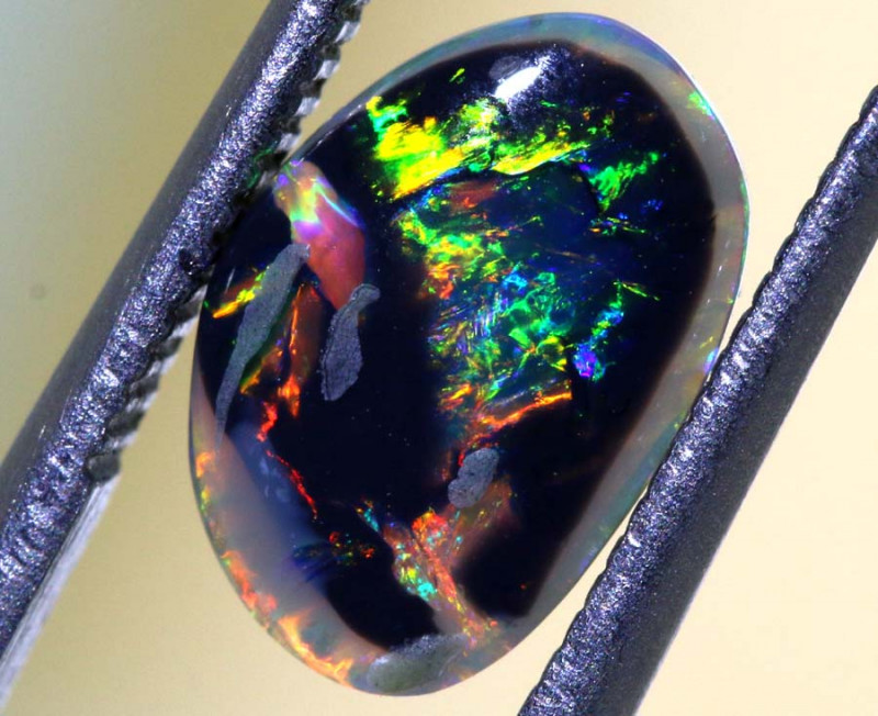 N 3-1.37 CTS  PICTURE STONE DOUBLESIDED BLACK OPAL POLISHED STONE INV-1125