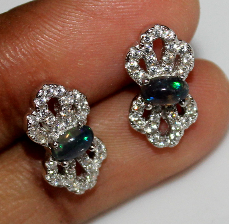 Natural Ethiopian Welo Fire Smoked Opal 925 Silver Stud Earrings 120