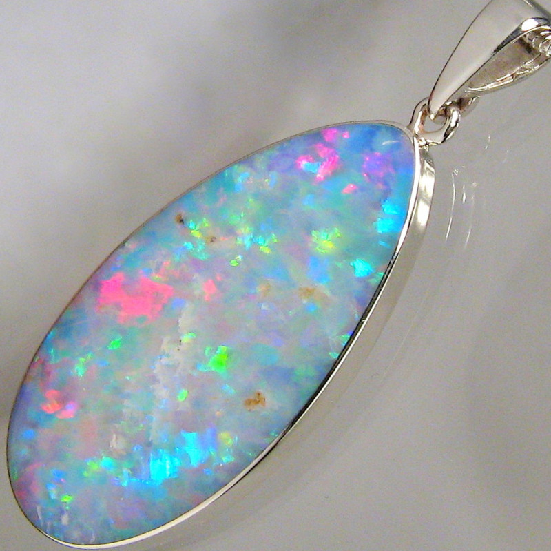 Genuine Large Australian Inlay Opal Pendant 14.6ct Solid 925 Silver Gem Gif