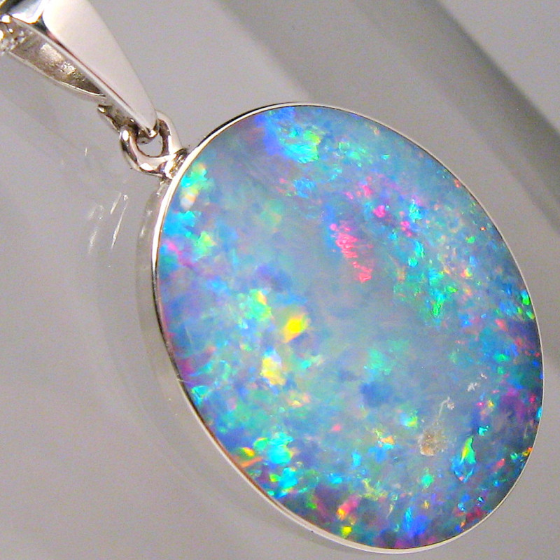 Big Solid Silver Australian Natural Inlay Opal Pendant Gift Necklace 11.3ct
