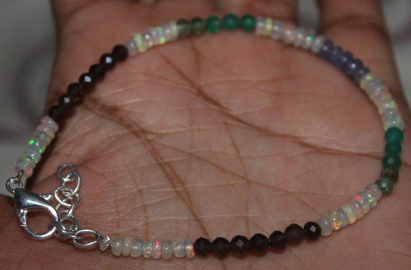Ethiopian Opal Apatite Smokey Onyx  Tanzanite Beads Bracelet 100