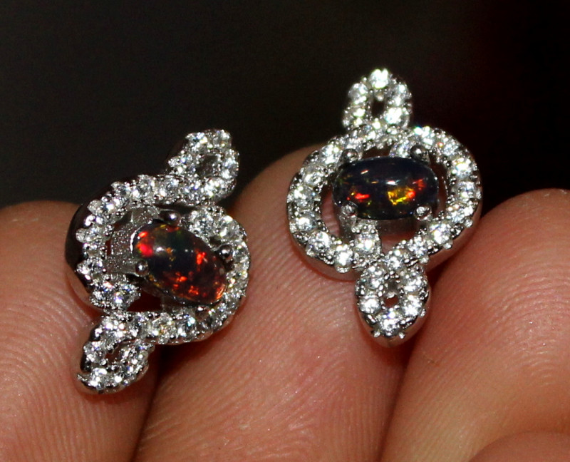 Natural Ethiopian Welo Fire Smoked Opal 925 Silver Stud Earrings 129
