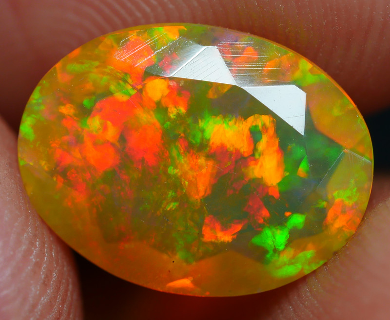 1.80 CRT DARK CRYSTAL FACETED FIRE FLASH DELUXE PLAY COLOR WELO OPAL