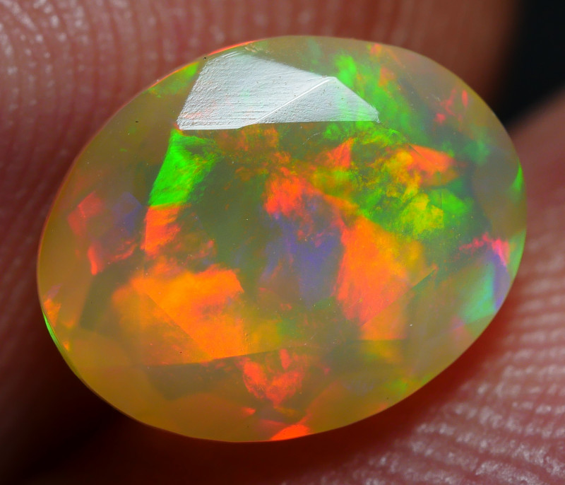 1.25 CRT BEAUTY FACETED FLORAL PATCHWORK PATTERN PLAY COLOR WELO OPAL