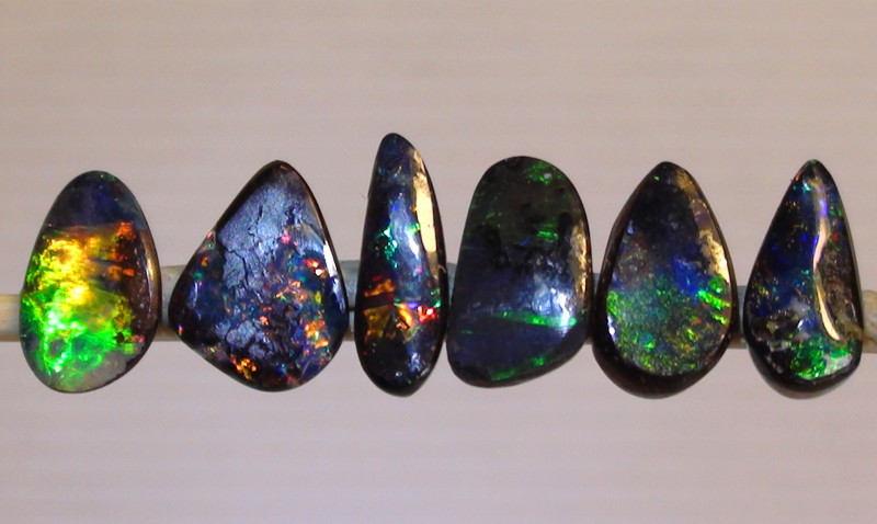 3.50 ct 6 Gem Multi Color Boulder Opal Ring Stone Parcel