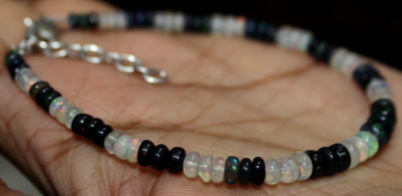 15 Crt Natural Ethiopian Welo Opal & Smoked Opal Beads Bracelet 152