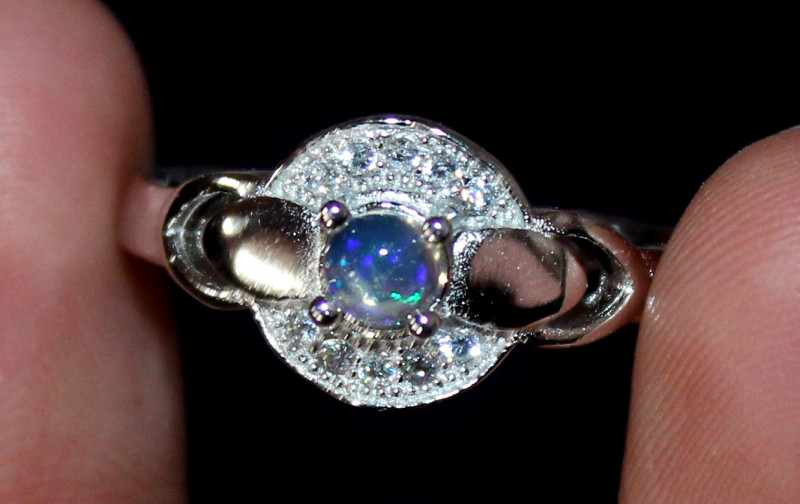 Natural Ethiopian Welo Fire Opal 925 Silver Ring Size (8 US ) 172