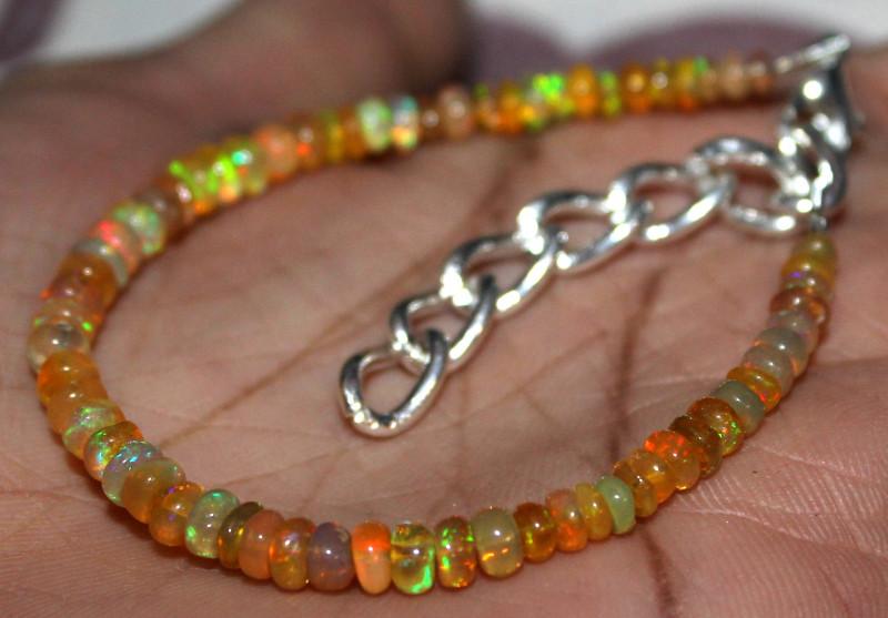 19 Crt Natural Ethiopian Welo Fire Yellow Opal Beads Bracelet 30