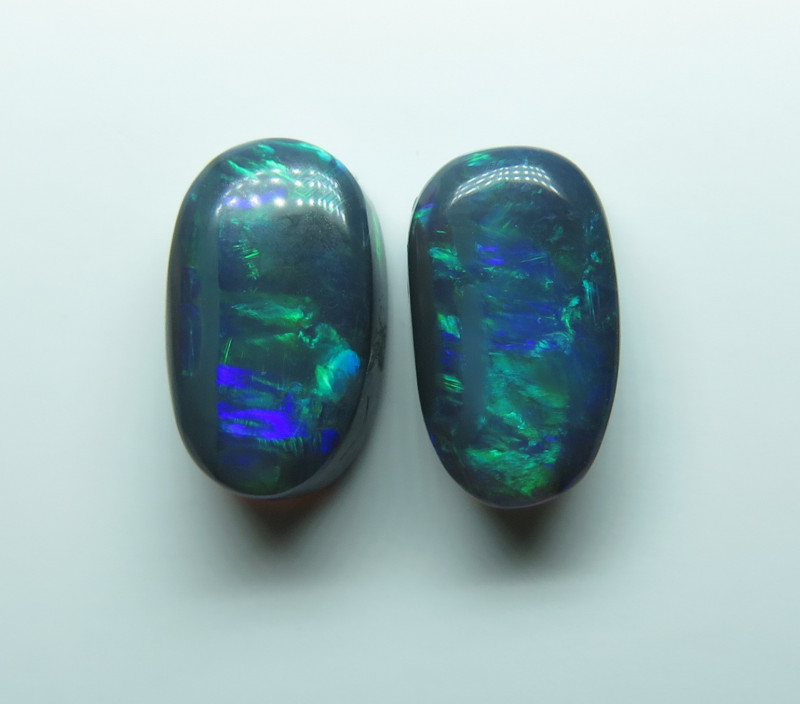 4.10ct Pair Lightning Ridge Black Opal stone