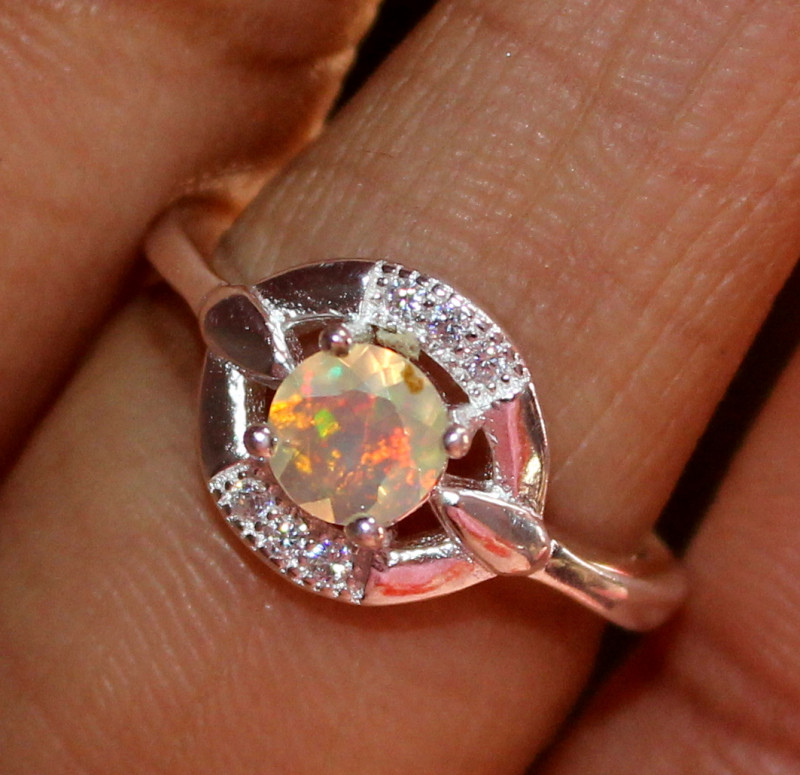 Natural Ethiopian Welo Fire Opal 925 Silver Ring Size (4 US ) 211