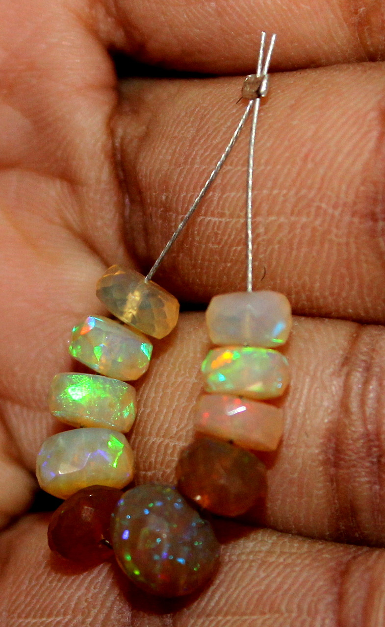7.45 Crt Natural Ethiopian Welo Fire Faceted Opal Beads Demi Strand 1