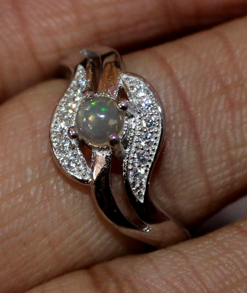 Natural Ethiopian Welo Fire Opal 925 Silver Ring Size (6 US ) 188