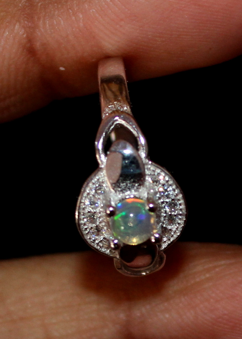 Natural Ethiopian Welo Fire Opal 925 Silver Ring Size (6 US ) 193