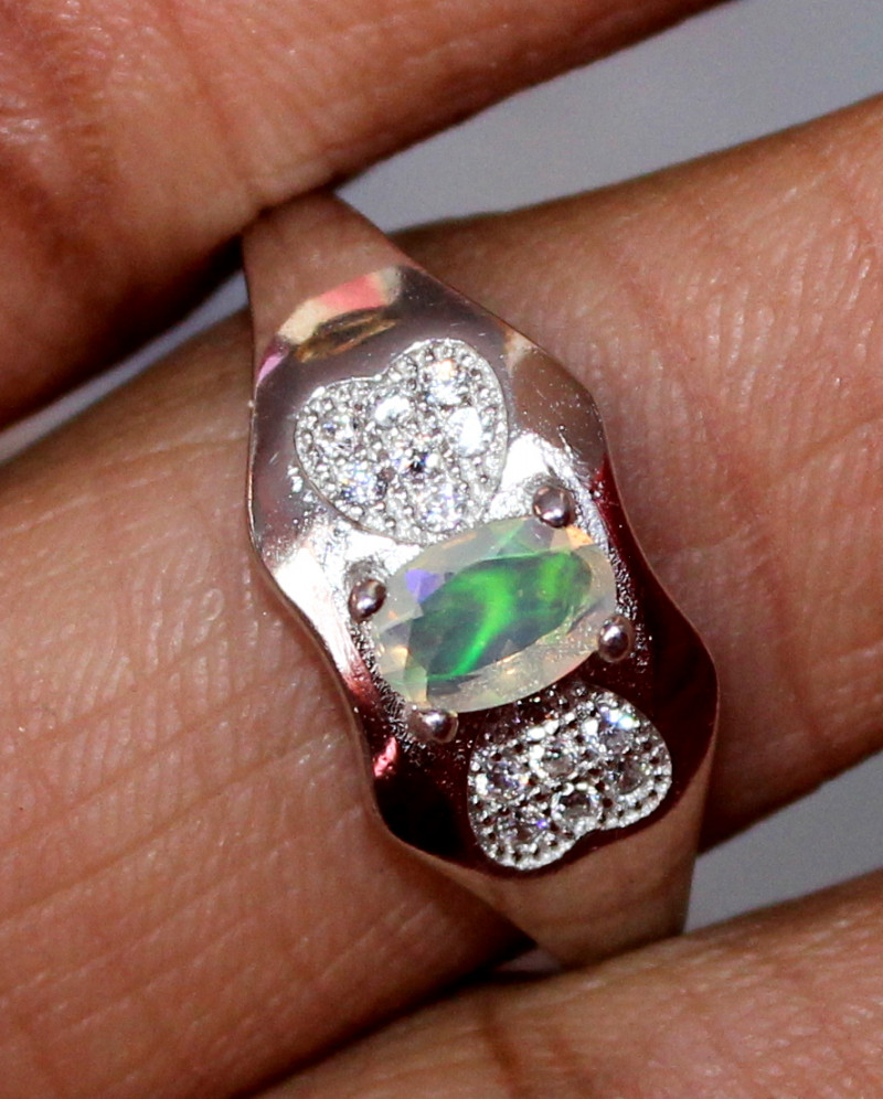 Natural Ethiopian Welo Fire Opal 925 Silver Ring Size (8 US ) 210