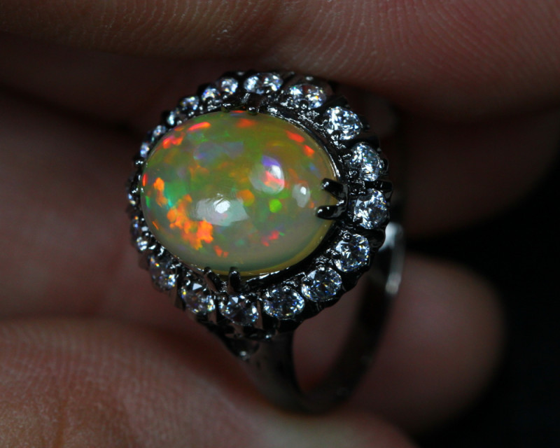 12.22cts Welo Opal 925 Sterling Silver Ring US6.25
