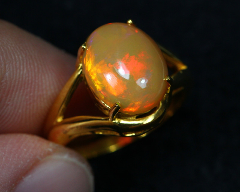 13.43cts Welo Opal 925 Sterling Silver Ring US5