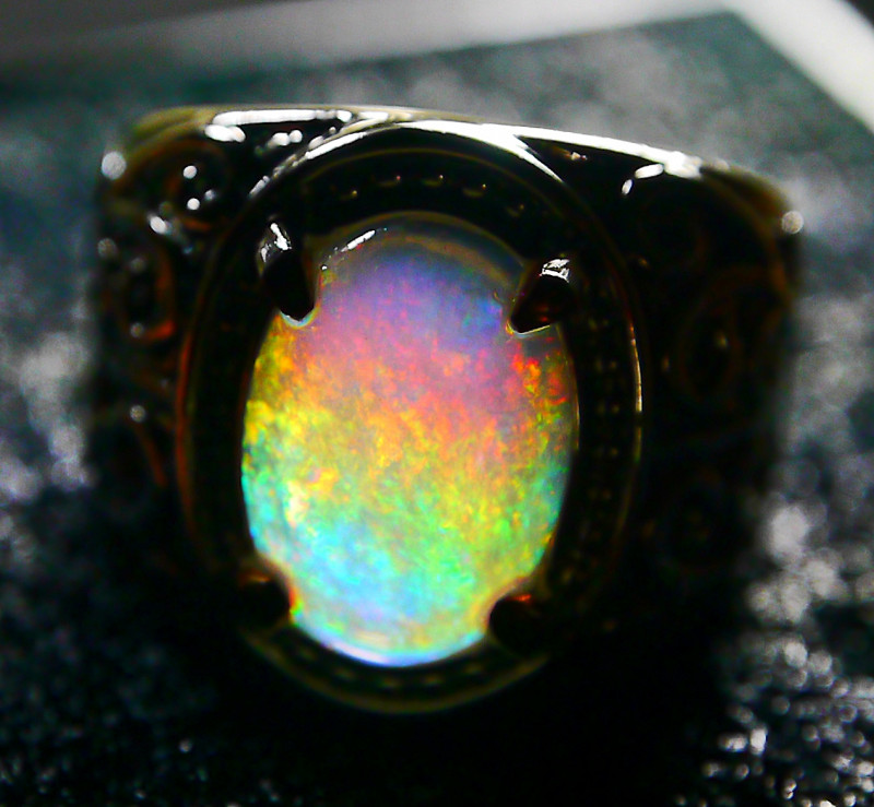 36.65 CT UNTREATED Beautiful Indonesian Contraluz  Crystal Opal Ring Jewelr