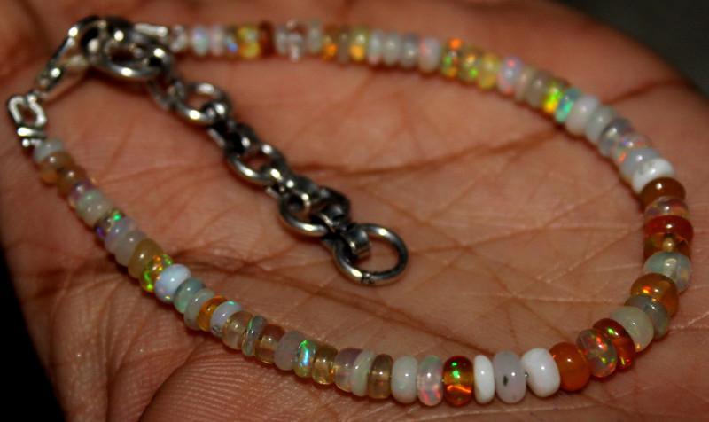 19 Crt Natural Ethiopian Welo Fire Opal Beads Bracelet 1