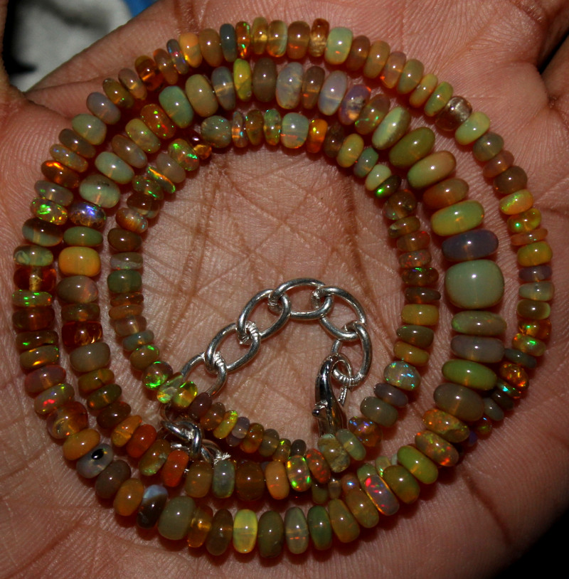 43 Crt Natural Ethiopian Welo Fire Opal Beads Necklace 127