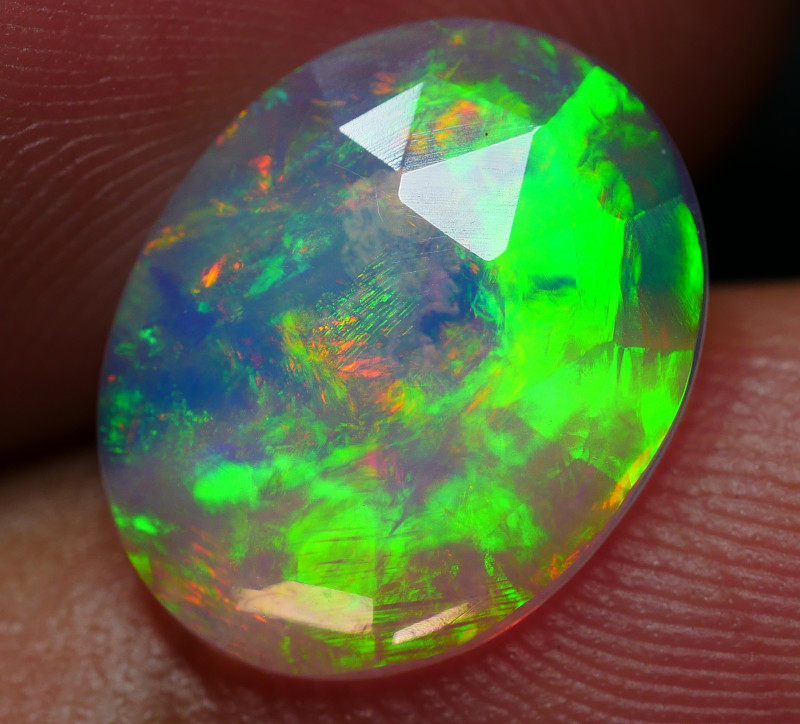 1.65 CRT BEAUTIFULL FACETED BROADFLASH FLORAL PLAY COLOR WELO OPAL*
