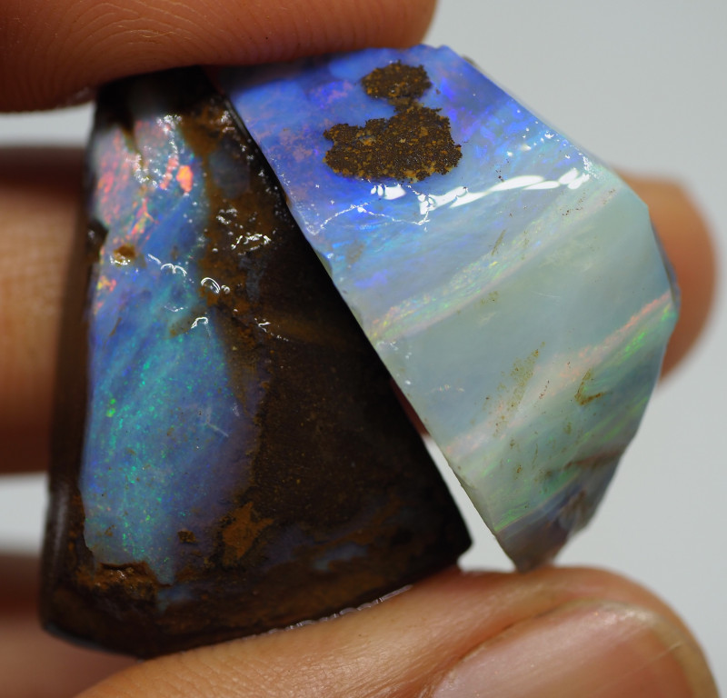 56.50CT ROUGH PAIR QUEENSLAND BOULDER OPAL  PJ55
