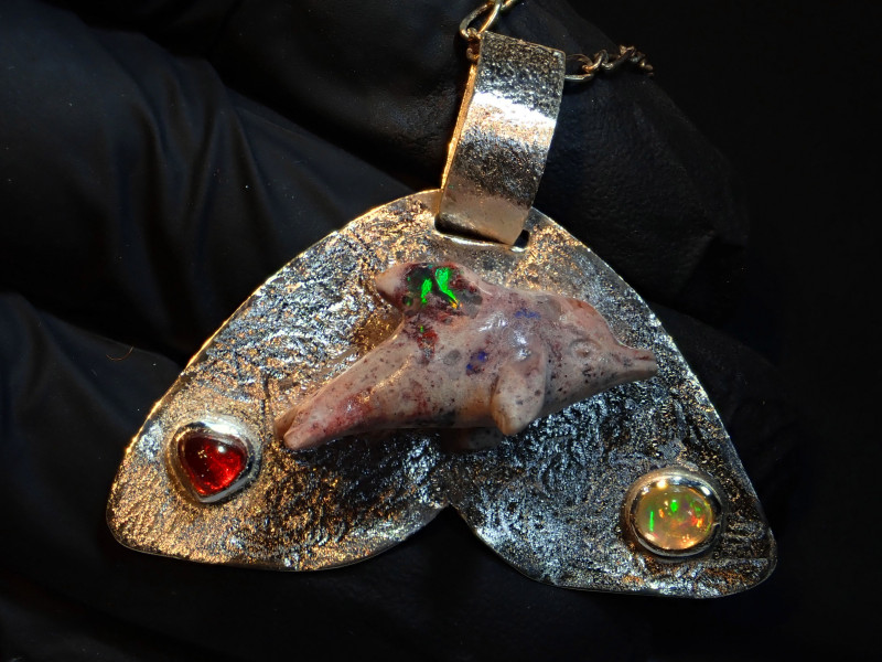 Dolphin Matrix Opal Pendant Sterling Silver .925 Artwork