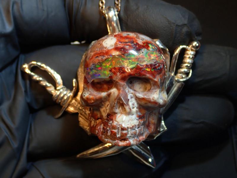 195ct Skull Unique  Matrix Opal Pendant Sterling Silver .925 Artwork