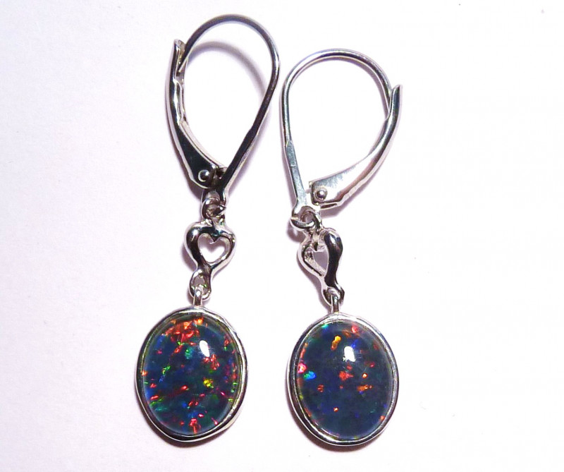 Stunning Natural Australian Opal Triplet and Sterling Silver Earrings