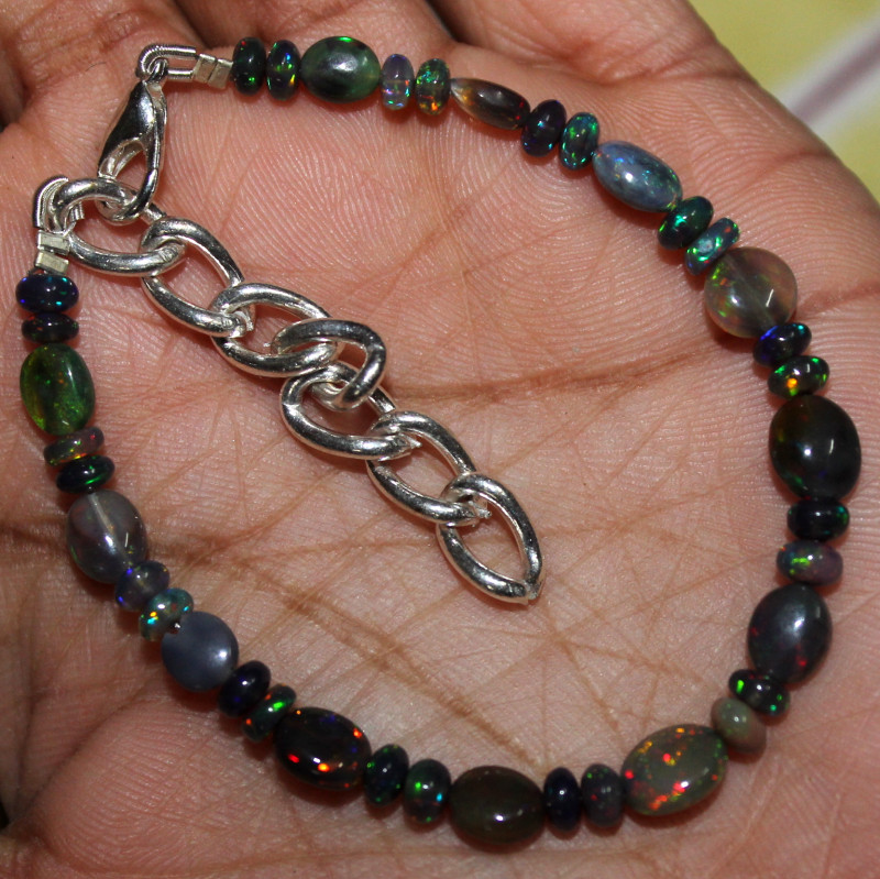 21 Crt Natural Ethiopian Welo Smoked Opal Beads & Nuggets Bracelet 14