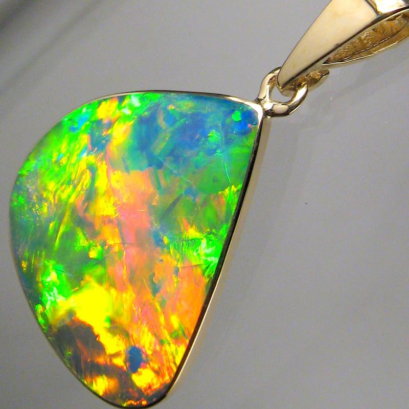 Super Bright Australian Opal Pendant 14k Gold Genuine Jewelry Gem Gift 6.7c