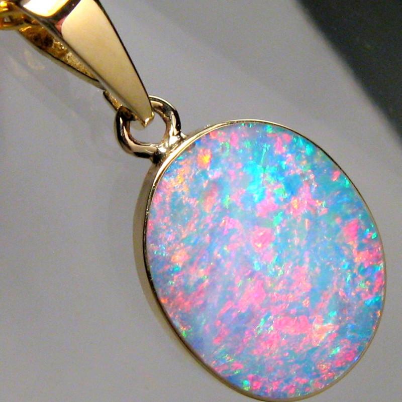 Australian Opal Pendant 4.5ct 14k Gold Authentic Genuine Inlay Jewelry Gift