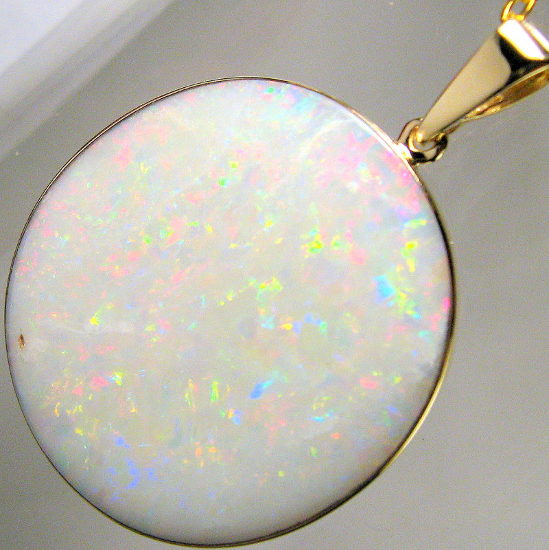 13.7ct 14k Gold Large Natural Australian Solid White Opal Pendant Jewelry A
