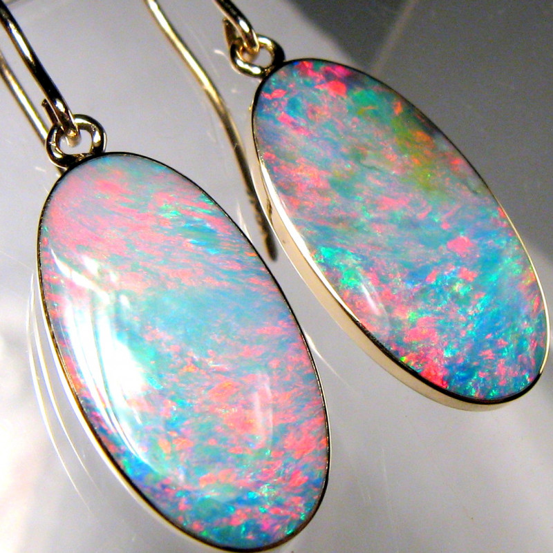 10.9ct Genuine Quality Australian Opal Inlay Earrings Jewelry Gift 14k Gold