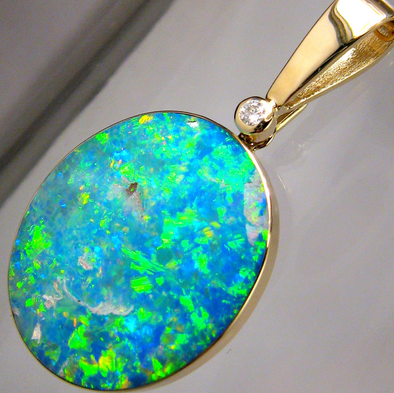 19.9ct 14k Gold Rare Large Natural Opal & Diamond Pendant Jewelry Neckl